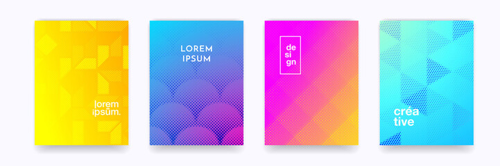 Color gradient background, geometric halftone pattern, vector abstract trendy line graphic design. Simple minimal elements in halftone color gradient, modern pattern backgrounds Fotobehang