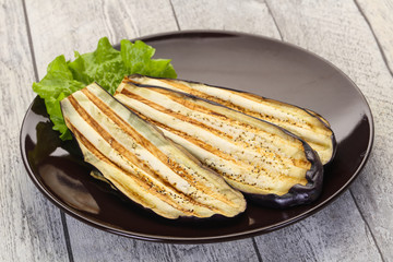 Fotobehang - Grilled eggplant in the bowl