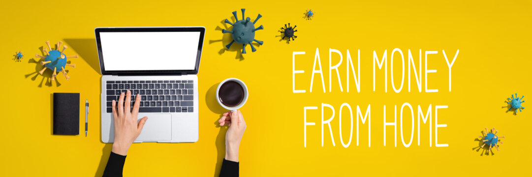 Earn money from home with laptop computer with viruses