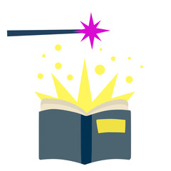 Open book. Blue cover. Magic of Reading and imagination. Magical narratives and fairy tales. Witchcraft, wand and children illustration. Flat cartoon