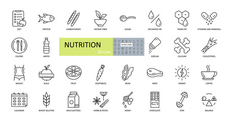 Vector nutrition icons. Editable Stroke. Nutrients in food, diet, weight loss, balance. Protein, carbohydrate, fiber, trans fat, vitamins, sugar, sodium, calcium, cholesterol, gluten, lactose Papier Peint