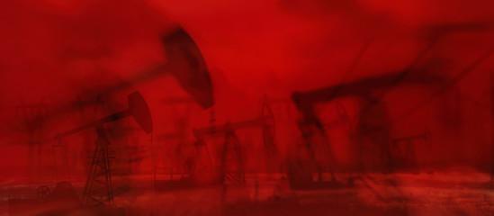 Foto auf Gartenposter Violett rot Oil derricks against the sky. Oil rig pump double exposure