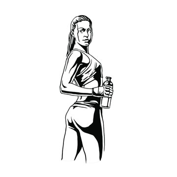 Body builder woman drinking water Hand drawn vector illustration.