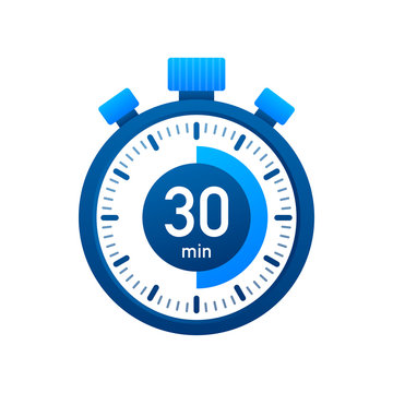 The 30 minutes, stopwatch vector icon. Stopwatch icon in flat style, timer on on color background. Vector illustration.