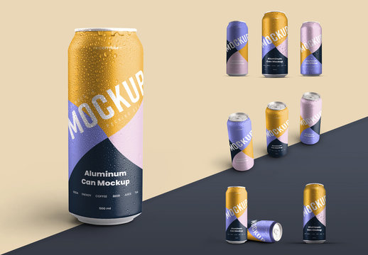 5  Aluminum Thin Can Mockups with Water Drops