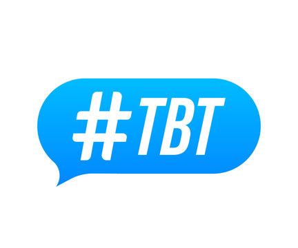 Tbt hashtag thursday throwback symbol. Vector stock illustration.