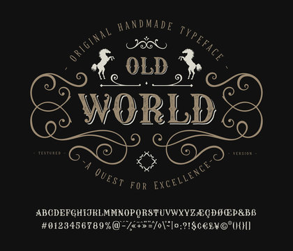 Font Old World. Vintage letter and number