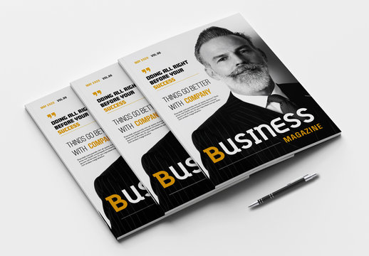 Business Magazine Layout with Yellow Accents