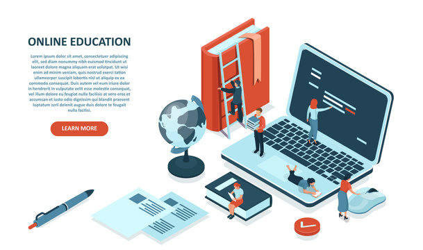 Vector of students learning via internet platforms, using digital webinars and libraries