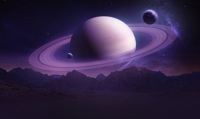 Sci-fi landscape with mountains and Saturn planet. Moon and planet on background. Purple colors. Elements of this image furnished by NASA