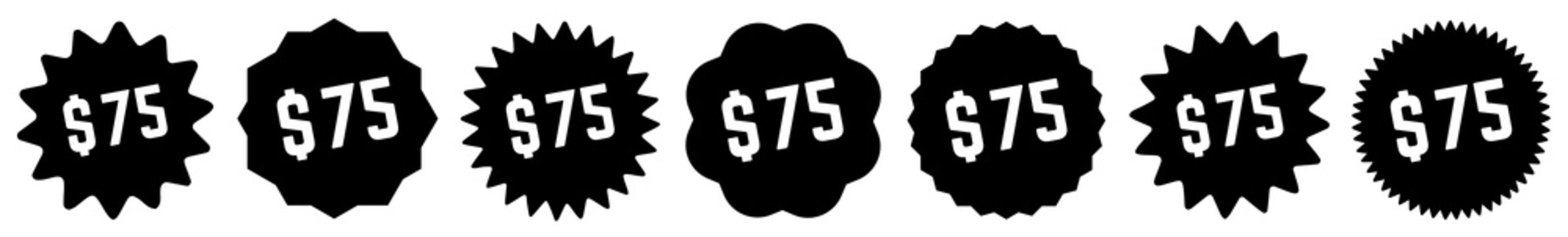 75 Price Tag Black | 75 Dollar | Special Offer Icon | Sale Sticker | Deal Label | Variations