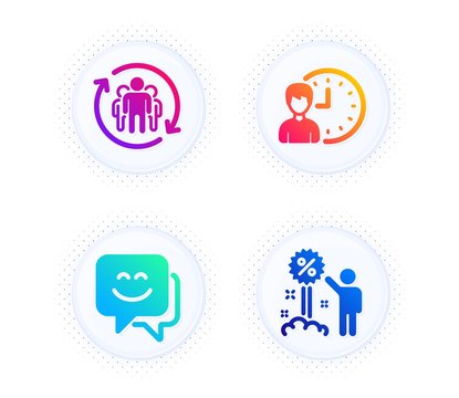Teamwork, Smile face and Working hours icons simple set. Button with halftone dots. Discount sign. Employees change, Chat, Project deadline. Sale shopping. People set. Vector