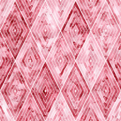 Pink rhombuses seamless watercolor pattern. Bright geometric print for textiles. Handmade.