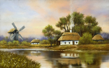 Digital oil paintings rural landscape, old village, windmill in the Ukraine. Fine art, artwork.