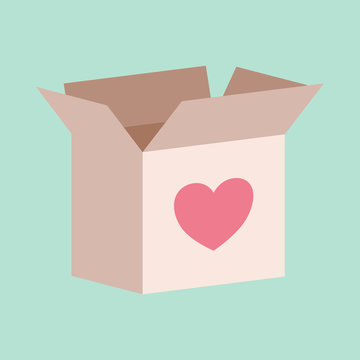 Cardboard box with a love heart on it for donating or giving concept to help those affected by COVID-19 pandemic