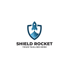 shield rocket logo icon vector isolated