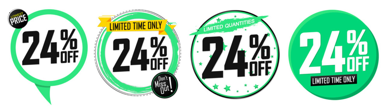 Set Sale 24% off banners, discount tags design template, promo app icons, vector illustration