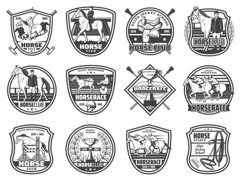 Equestrian sport, horse races and polo club, vector badges and emblems. Equine racing and jockey rider equipment, harness and saddle, whip and championship victory cup