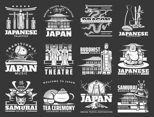 Welcome to Japan, vector travel icons of Japanese tourism to culture traditions and landmarks. Japan Tokyo Fuji mount, kabuki theater kimono and samurai, Japanese music instruments and tea ceremony