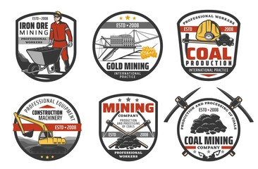 Mining industry, coal mine machinery and equipment, vector company icons. Metal iron ore and fossil coal extraction, excavator digger and bulldozer, miner jackhammer, safety hardhat and pickax Fototapete