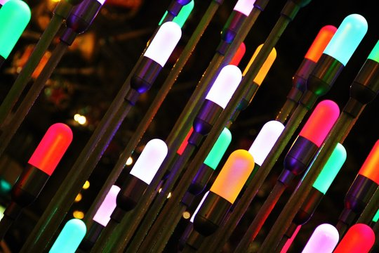 Full Frame Shot Of Colorful Christmas Lights At Night