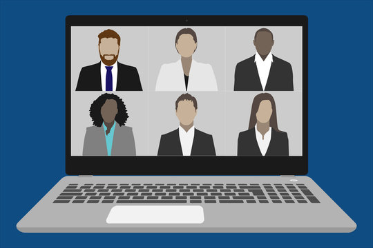 Video conference on a laptop vector illustration - Work from home concept during covid-19 quarantine crisis