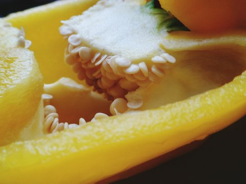 Close-up Of Sliced Yellow Bell Pepper