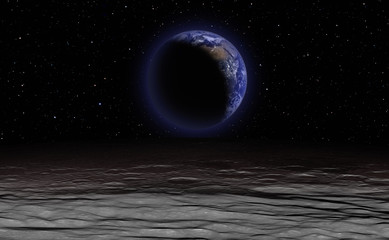 Wall Mural - The crescent Earth as Seen from the Surface of the Moon - Elements of this Image Furnished by NASA