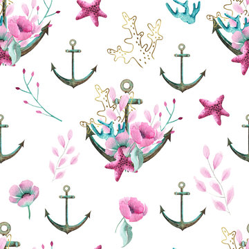 Watercolor Little Mermaid hand painted seamless pattern with sea turtle, whale, starfish, corals, seaweed, flowers, shells, anchor, fish