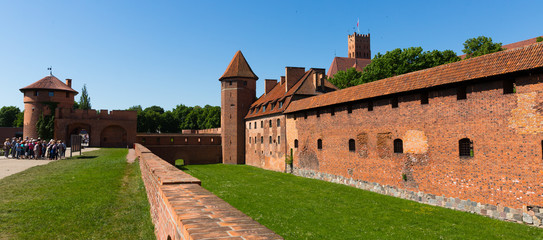 View of largest medieval brick Castle of Teutonic Order in Malbork, Poland Wall mural