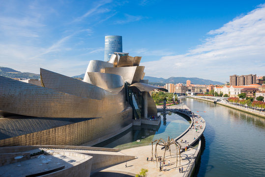 Monumental art in Bilbao, the world famous Guggenheim Museum at the Nervión river
