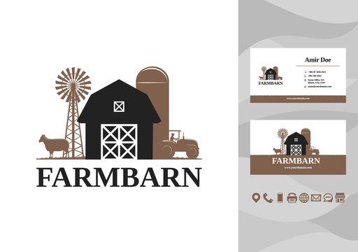 Barn farm building logo and business card design vector