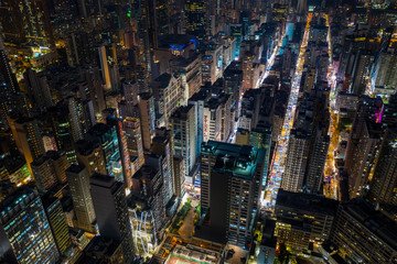 Fototapete - Hong Kong city night
