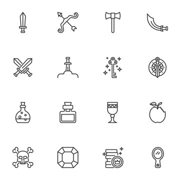 Fairytale line icons set, fantasy outline vector symbol collection, linear style pictogram pack. Signs, logo illustration. Set includes icons as battle sword axe, magic key, poison bottle, mirror