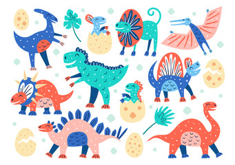 Set of little cute dinosaurs. Triceratops, T-rex, diplodocus, pteranodon, stegosaurus. Prehistoric animals. Jurassic world. Flat colourful vector illustration, art isolated on white background.