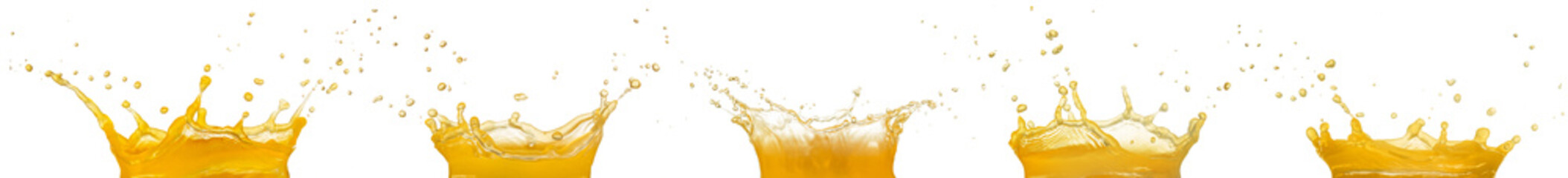 Wall Mural - orange juice splashes collection, isolated on white