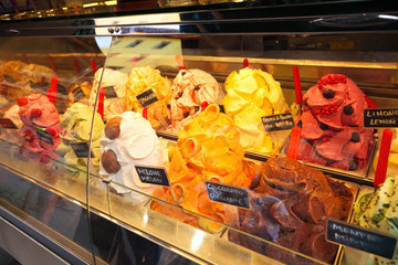 Famous Italian gelato from Florence, Italy at Italian shop Wall mural