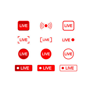 Live buttons red and white icon set, social media consept on an isolated white background. EPS 10 vector.