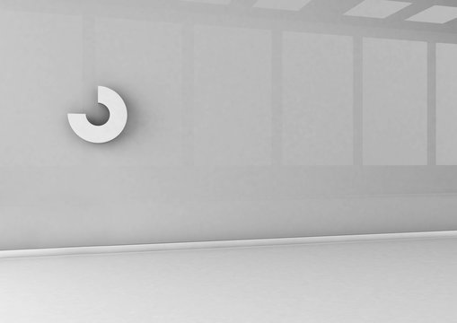 Abstract logo mockup on office wall. 3d rendering.