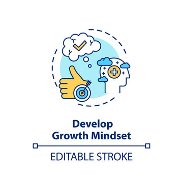 Develop growth mindset concept icon