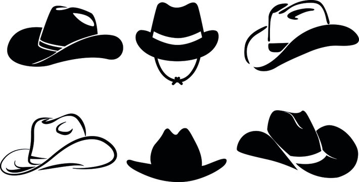 cowboy hat silhouette . vector illustration.