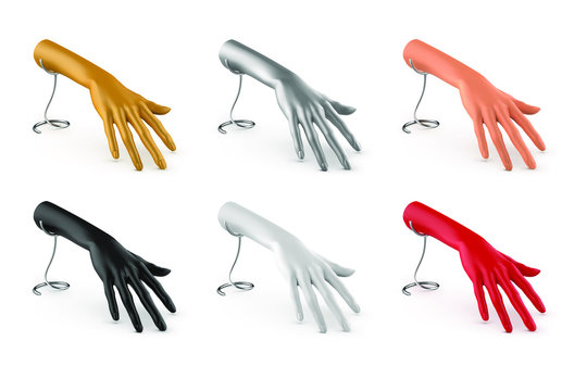 Set of female hands on a stand. Plastic mannequin in white, black, beige, gold, silver, red. Jewelry holder. Vector 3d illustration isolated on white background.