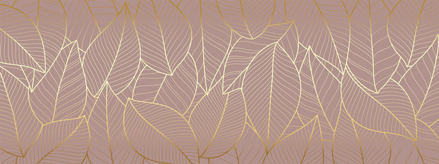 Luxury wallpaper design with Gold leaf and natural background. Leaves line arts design for fabric, prints and background texture, Vector illustration.