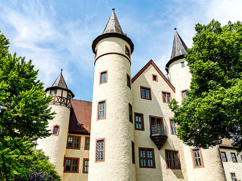 Lohr am Main, Germany - The listed castle complex with the four towers is also called Kurmainzer Castle.