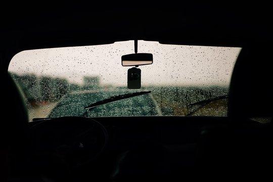 Waterdrops On Windscreen Against Clear Sky