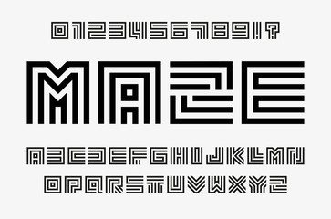 Fotomurales - Linear labyrinth letters and numbers set. Line maze style alphabet. Contout geometric font, type for lineart logo and monogram concept. Outline vector typography design