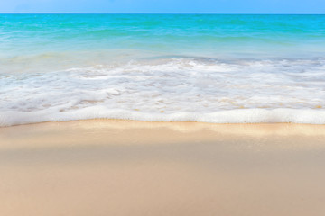 Wall Mural - Sand sea and soft ocean wave summer background