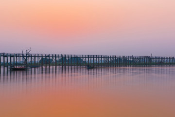 U Bein Bridge after sunset in Myanmar