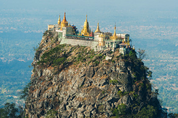 Temple on volcano near Mt. Popa in Myanmar