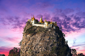Temple near Mt. Popa in Myanmar at sunrise